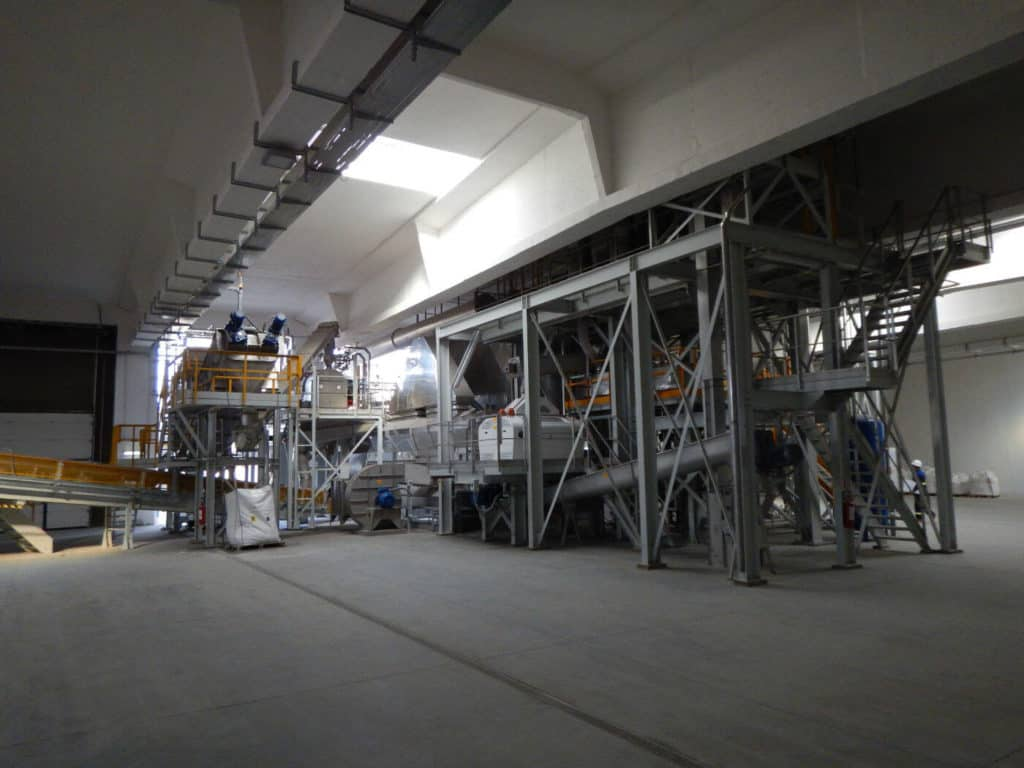 Existing of salt washing, dewatering by centrifuge, thermal drying and cooling, screening and milling of the dried salt.