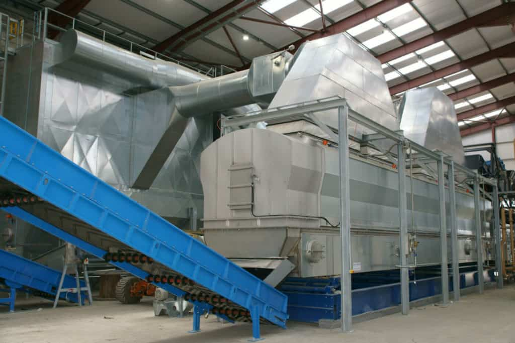 Low temperature drying using biogas and CHP waste heat to produce secondary fuel for cement kilns and WTE plants.