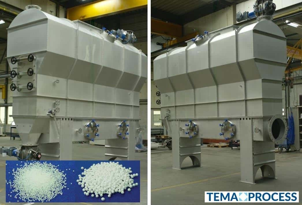Drying Polystyrene and Expanded polystyrene Fluid Bed Dryer cooler separates the unnecessary water from the polymer beads