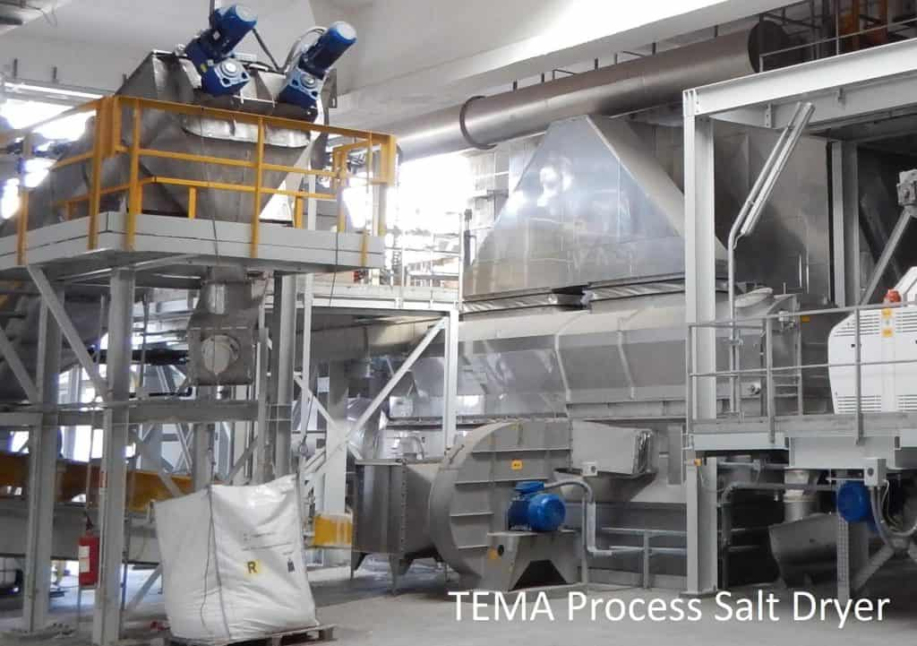 Salt drying fluid bed dryer process