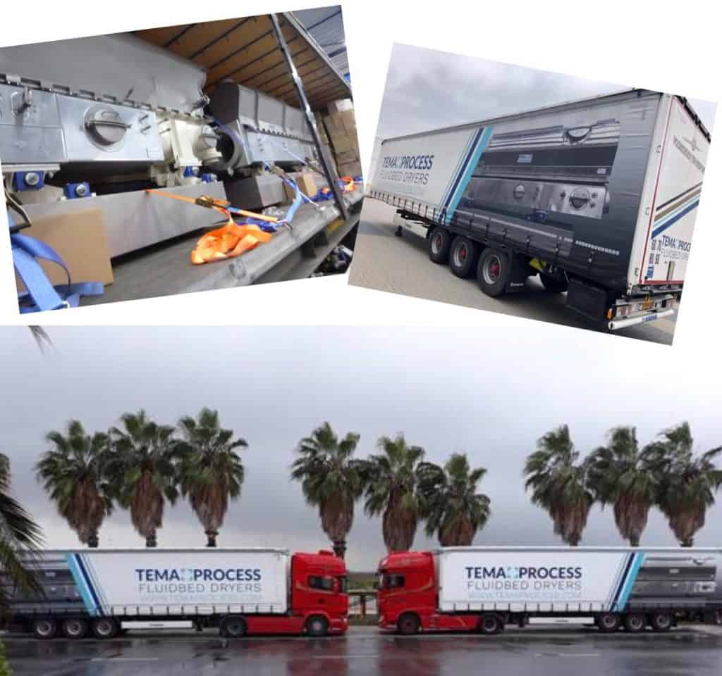 transport of fluid bed dryers